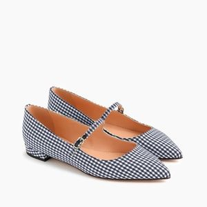 J. Crew Pointed-Toe Mary Jane Flats in Gingham